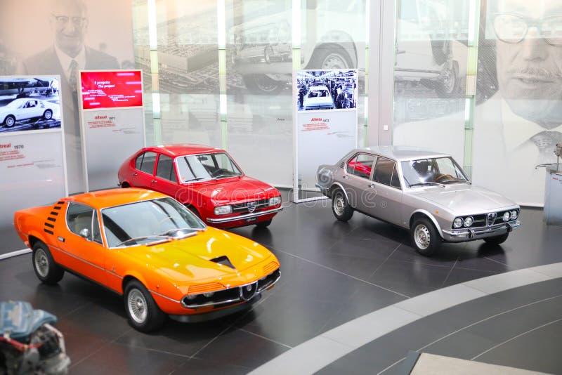 Alfa Romeo Alfasud, Montreal and Alfetta models on display at The Historical Museum Alfa Romeo. Arese, Italy - Alfa Romeo Alfasud, Montreal and Alfetta models on royalty free stock image