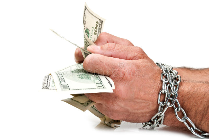 Aresht men with money. Hands with dollars in chain on a black background stock photos
