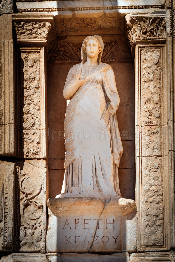 Arete Apeth Moral Virtue. Moral virtue, statue of Arete (Apeth) in Library of Celsus in Efes stock photography