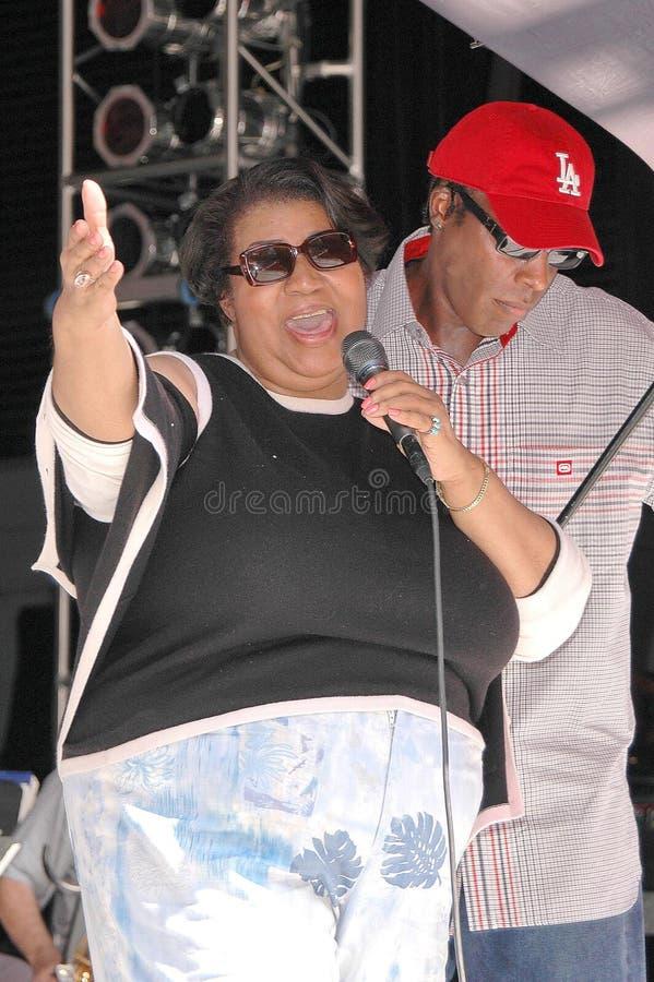 Aretha Franklin en Arsenio Hall stock afbeelding