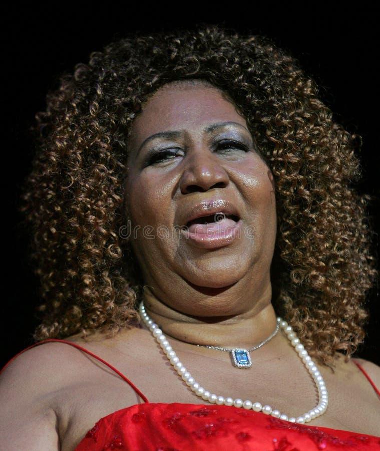 Aretha Franklin presteert in overleg royalty-vrije stock foto's