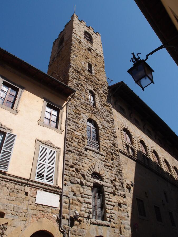 Arezzo historical center. Travel view of Arezzo featuring historical center street. The image location is Tuscany in Italy, Europe royalty free stock photos