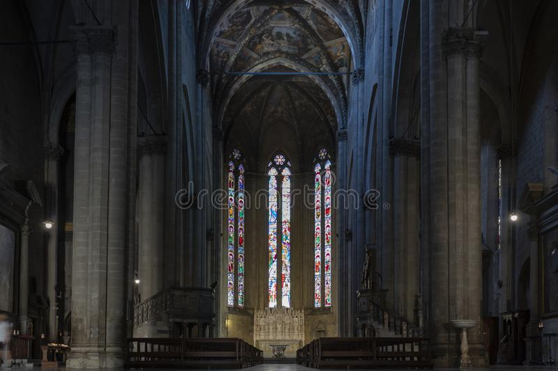Arezzo, Italy - 18 September 2019 - Cathedral of Saints Peter and Donato Arezzo. Arezzo, Italy - 18 September 2019 - Interior of the Cathedral of Saints Pietro stock photos