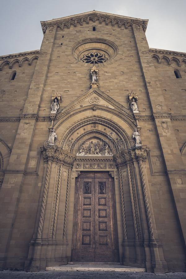 Arezzo, Italy - 18 September 2019 - Facade of the Cathedral of Saint Peter and Donato in Arezzo, Tuscany & x28;Italy royalty free stock images
