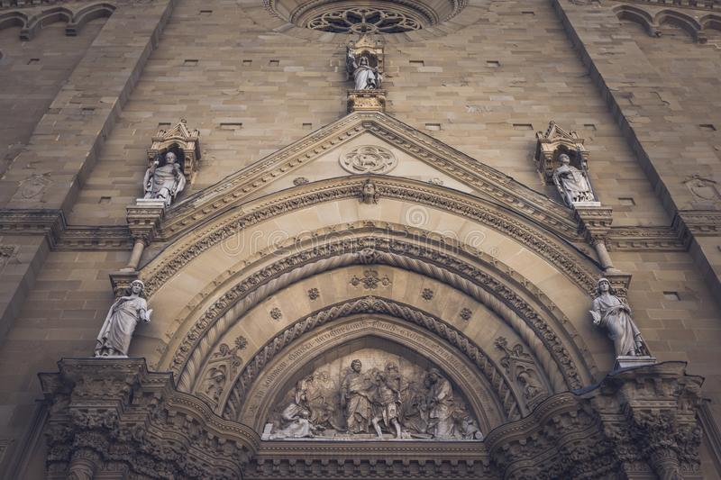 Arezzo, Italy - 18 September 2019 - Facade of the Cathedral of Saint Peter and Donato in Arezzo, Tuscany & x28;Italy. Arezzo, Italy - 18 September 2019 royalty free stock photos