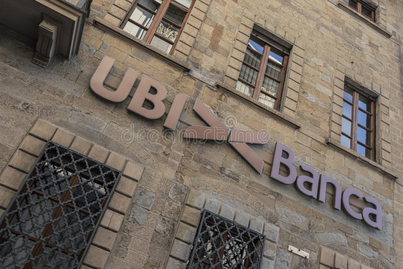 AREZZO, ITALY - September 18, 2019: Tuscany, Arezzo, headquarters UBI BANCA. Medieval building, currency, accessibility, architecture, background, bank, banker stock photo