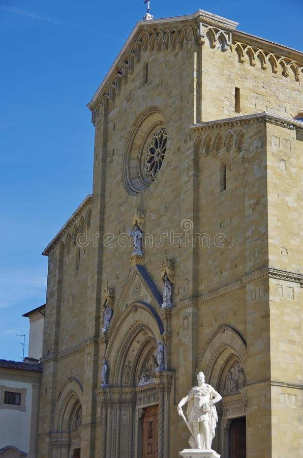 The facade of the Cathedral of Arezzo is a medieval gem royalty free stock photos