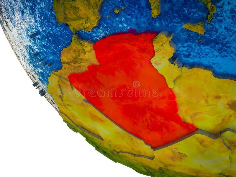 Argélia na terra 3D ilustração stock