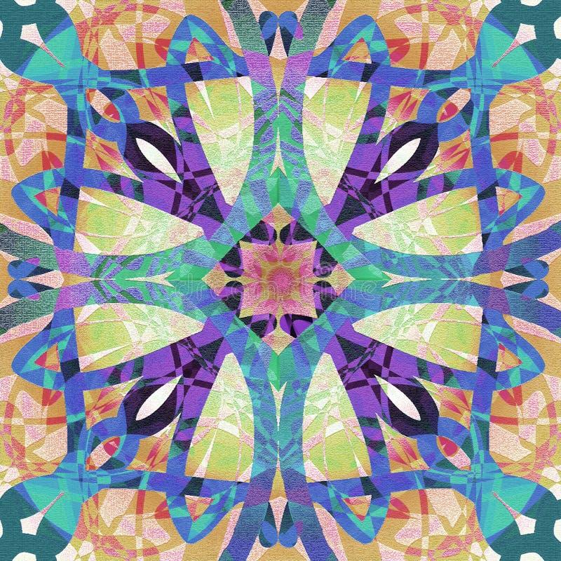 Arg art décostilmandala, i texturyttersida ljusa färger, purpurfärgat som är blåa, turkos, brunt ljus -, röd, rosa abstrakt backg stock illustrationer