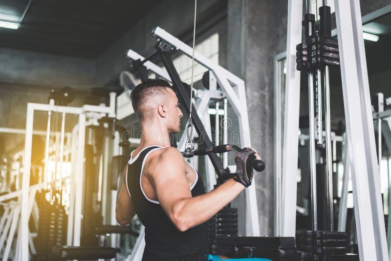 Arg färdig kropp och muskulöst i stark och stilig mannen den idrottshall som, gör övningsutbildning arkivfoton