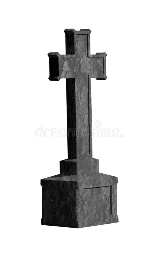 Arg gravsten som isoleras på vit arkivbild