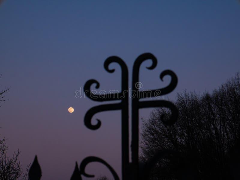 Arg kontur och himlen med fullmånen royaltyfri foto