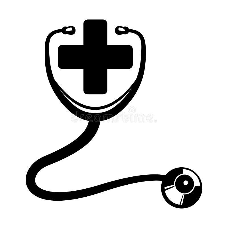 Arg stetoskopmedicinsk vårddesign stock illustrationer