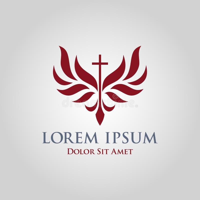 Arg symbol med stiliserade vingar - kyrkligt tecken royaltyfri illustrationer