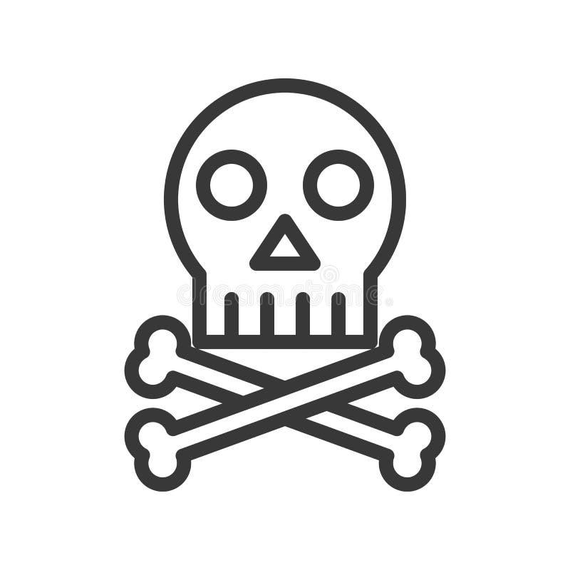 Arga ben och skalle, dödöversiktssymbol royaltyfri illustrationer