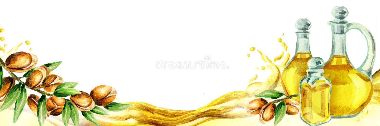Argan horizontal title. Watercolor. Illustration stock illustration