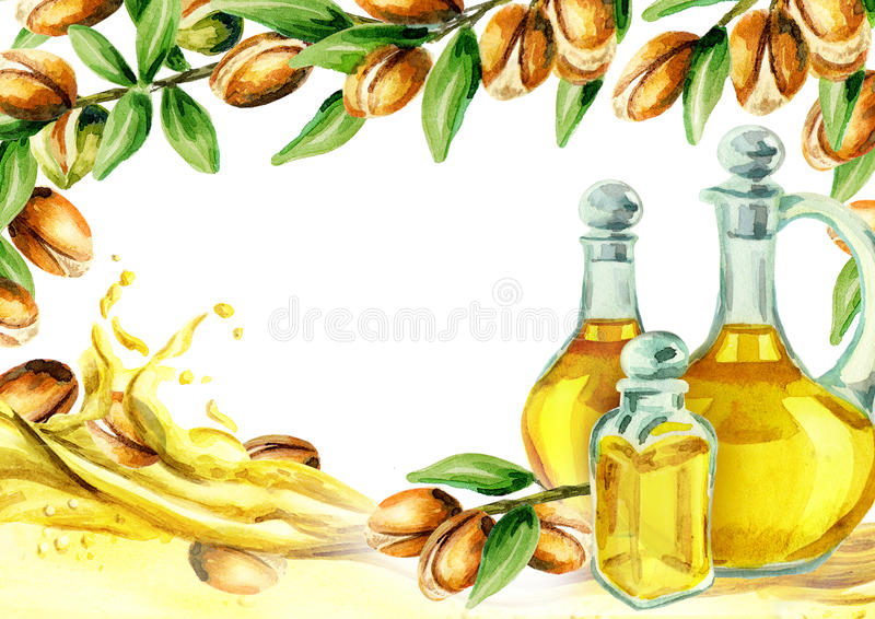 Argan oil card. Watercolor hand-drawn template vector illustration
