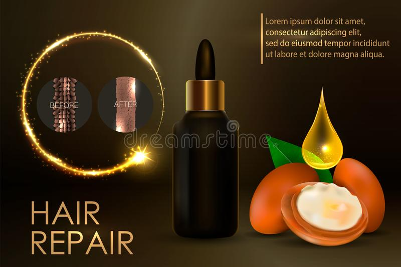 Argan oil for hair care. Vctor stock illustration