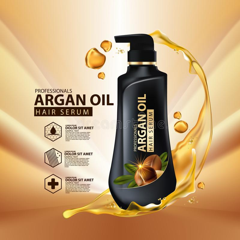 Argan oil hair care protection contained in bottle. Golden and black background 3d illustration vector illustration
