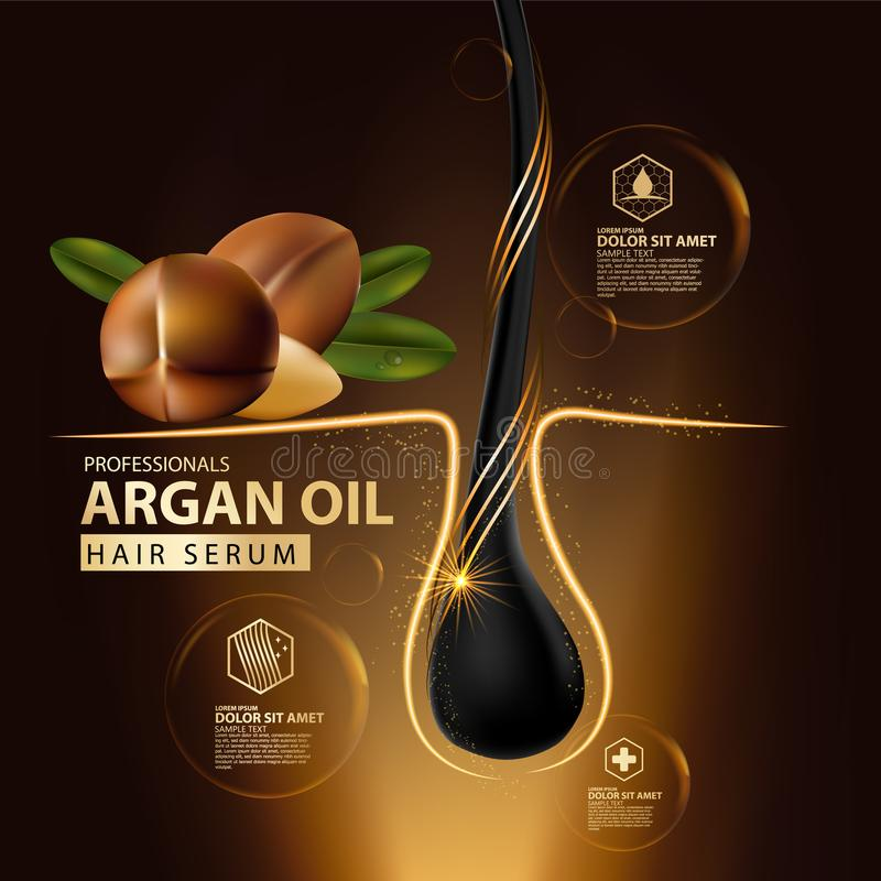 Argan oil hair care protection contained in bottle. Golden and black background 3d illustration royalty free illustration