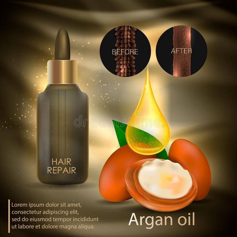 Argan oil for hair care. Vector royalty free illustration