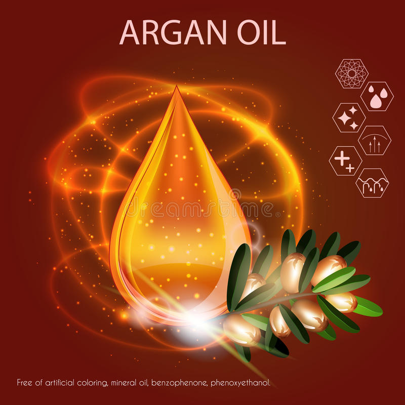 Argan Oil Serum Essence 3D Droplet with Branch. Skincare Icon, Cosmetics Ads Template royalty free illustration