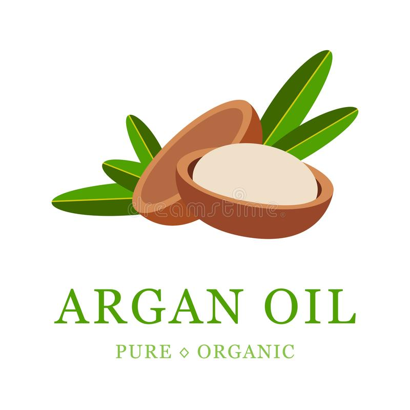 Argan oil skin care cosmetic. Argan seeds, for the production of oil. Very nutritious for skin and hair. Packaging. Design template and emblem stock illustration