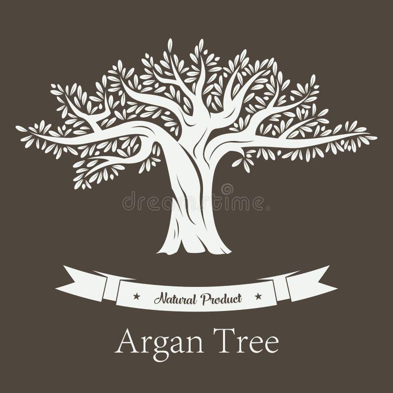 Argan roślina lub Argania flory owocowy drzewo royalty ilustracja