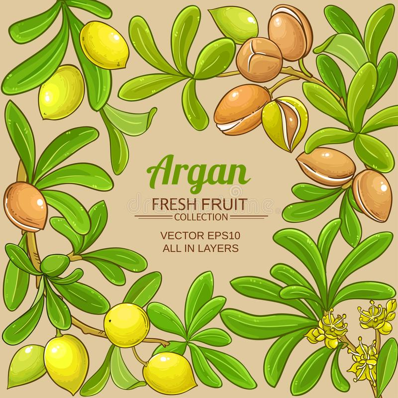 Argan vector frame. On color background stock illustration