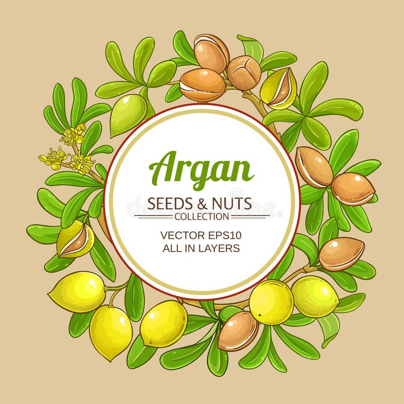 Argan vector frame. On color background royalty free illustration