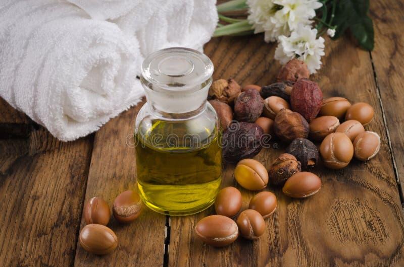 Argan vruchten en olie stock foto