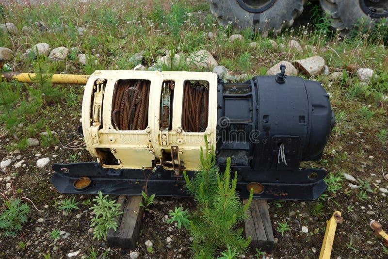 Argano del cavo elettrico utilizzato per l'estrazione mineraria nel Canada fotografie stock