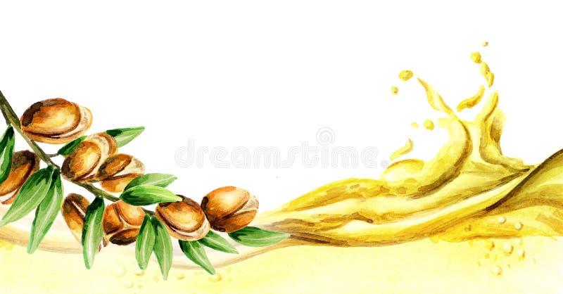 Arganoljavåg, vattenfärg stock illustrationer