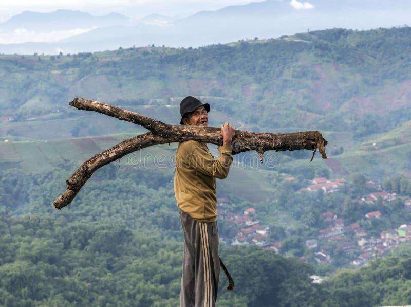 Argapura Indonesien 2018: Tragendes Holz des Landwirts zu seinem Haus von seiner Plantage, West-Java, Indonesien stockfoto