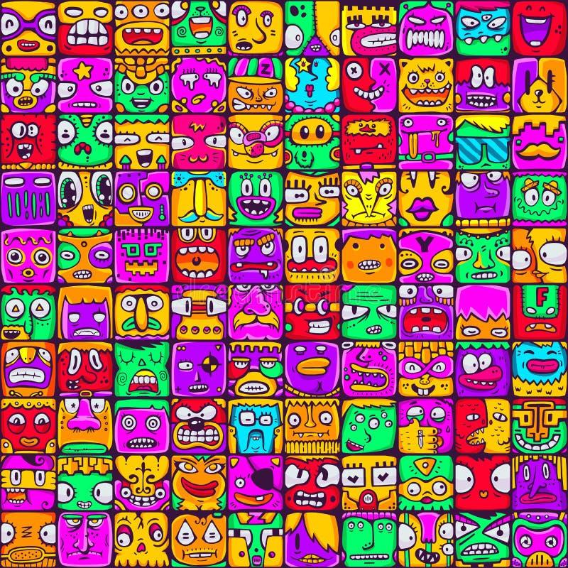 Arge set of 100 different faces for design stock illustration