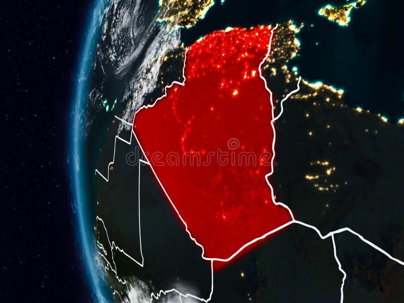 Argelia del espacio durante noche stock de ilustración