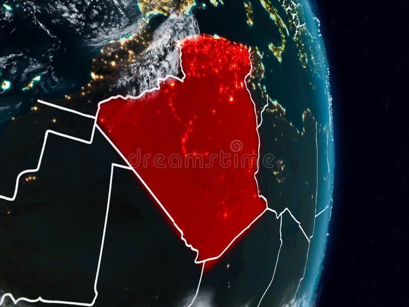 Argelia del espacio en la noche stock de ilustración