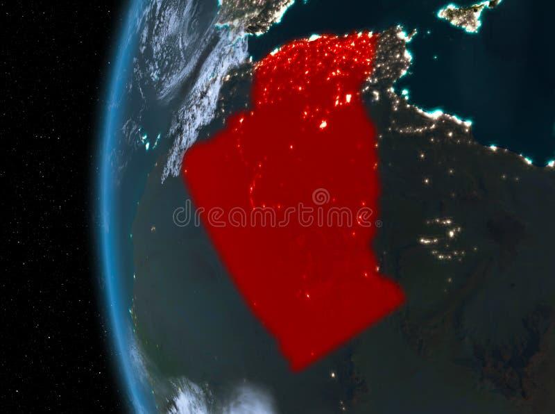 Argelia en rojo en la noche stock de ilustración
