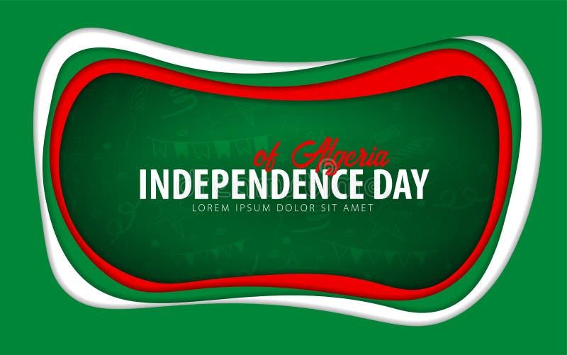 argelia Tarjeta de felicitación del Día de la Independencia estilo del corte del papel stock de ilustración