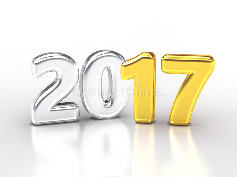 Or 2017 argenté illustration de vecteur