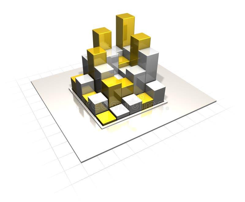Or argenté métallique de diagramme à barres illustration de vecteur