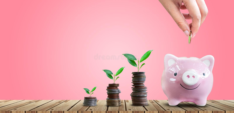 Argent économisant pour des affaires croissantes et le futur concept photo stock
