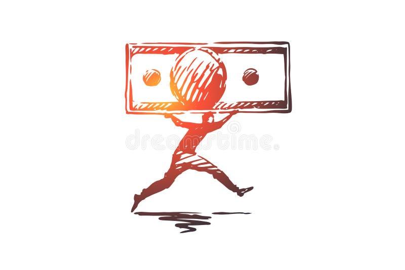 Argent, écoulement, finances, affaires, concept de richesse Vecteur d'isolement tiré par la main illustration de vecteur