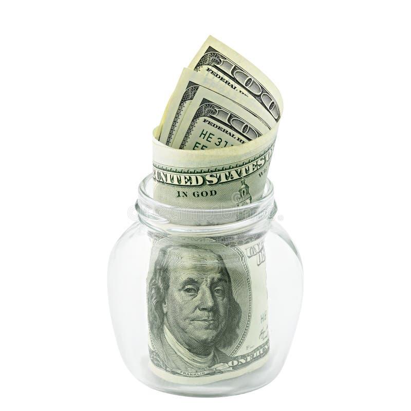 Argent américain cent billets d'un dollar dans le pot en verre d'isolement sur le chemin de coupure blanc de fond Billet de banqu images stock