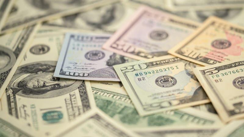Argent américain 5,10, 20, 50, nouveau billet d'un dollar de série de plan rapproché de fond 100 Macro billet de banque des USA d images stock