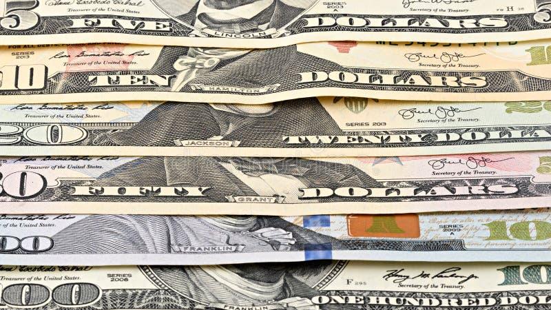 Argent américain 5,10, 20, 50, nouveau billet d'un dollar de série de plan rapproché de fond 100 Macro billet de banque des USA d photos libres de droits