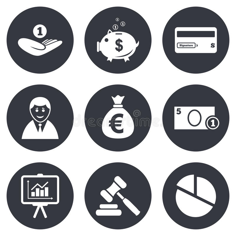Argent, argent liquide et icônes de finances Signe de tirelire illustration stock