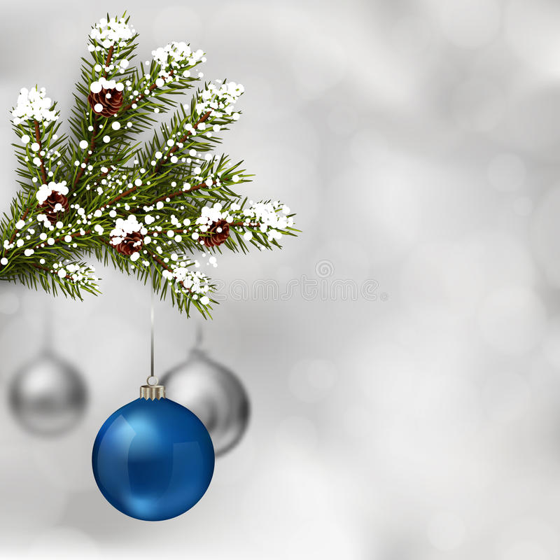 argent bleu de Noël de billes illustration stock