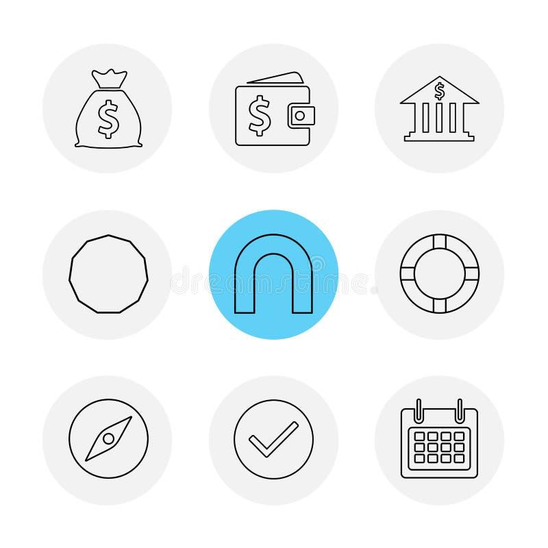 argent, boussole, portefeuille, banque, formes, électroniques, temps, eco illustration libre de droits