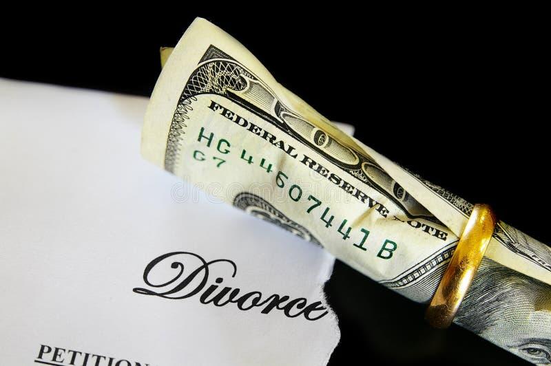 Argent comptant de divorce photo stock